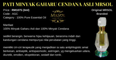 Pati Minyak Gaharu Cendana Asli Original MRSOL Branded