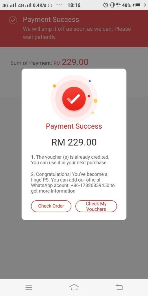 12) FINGO payment success