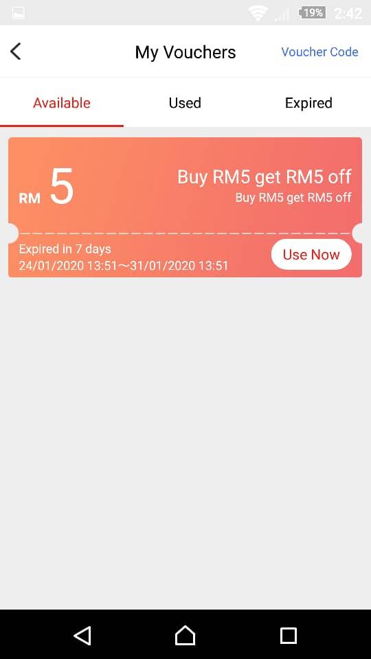 5) terima baucer segera PERCUMA berjumlah RM5